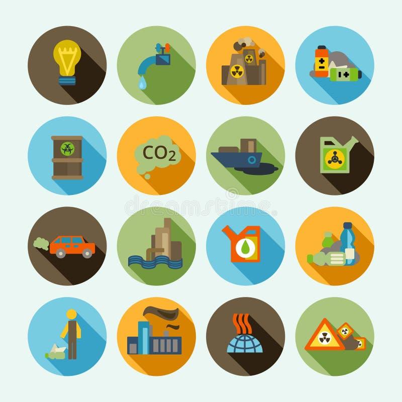 Iconos de la contaminación fijados ilustración del vector