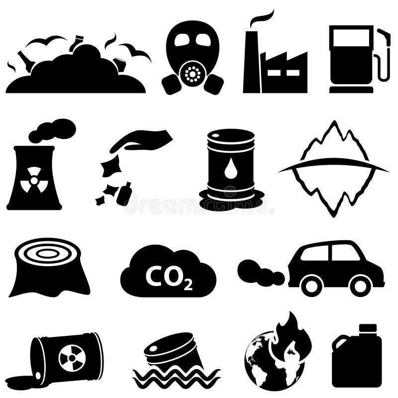 Iconos de la contaminación y del ambiente stock de ilustración
