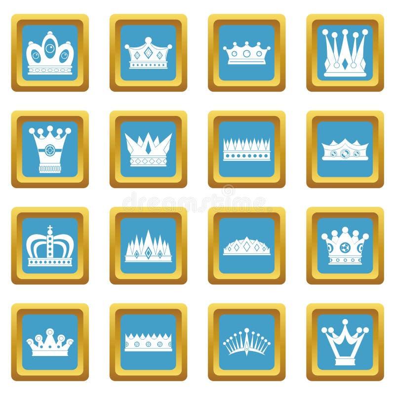 Iconos de la corona azules libre illustration