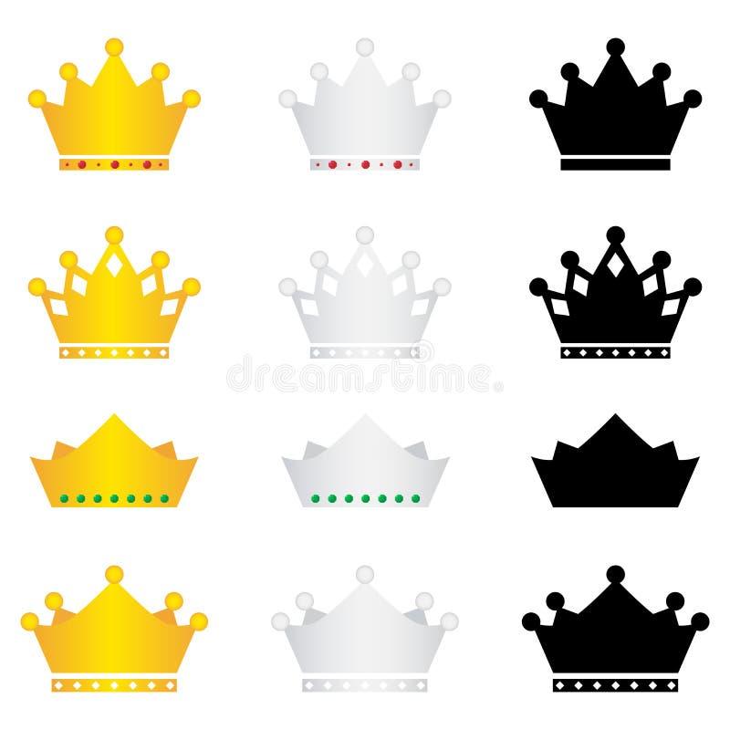 Iconos de la corona fijados ilustración del vector