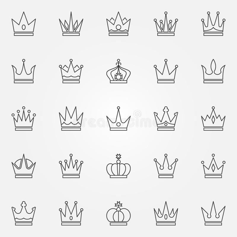 Iconos de la corona fijados stock de ilustración