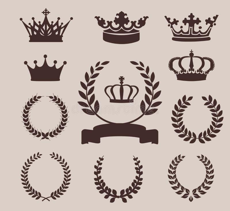 Iconos de la corona y de las guirnaldas Ilustración del vector fotografía de archivo libre de regalías