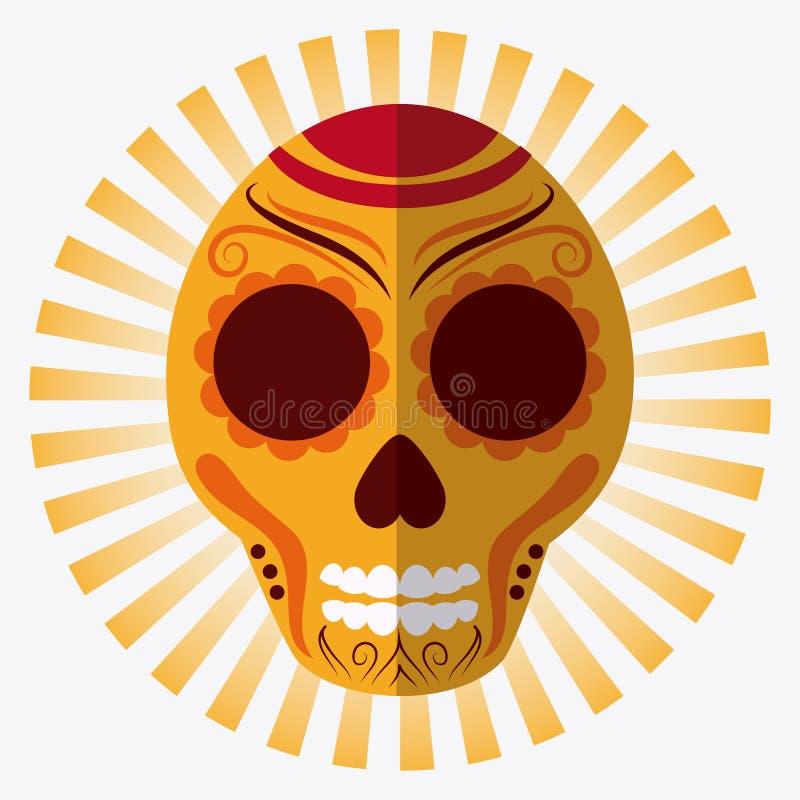 Iconos de la cultura de México en el estilo plano del diseño, ejemplo del vector stock de ilustración