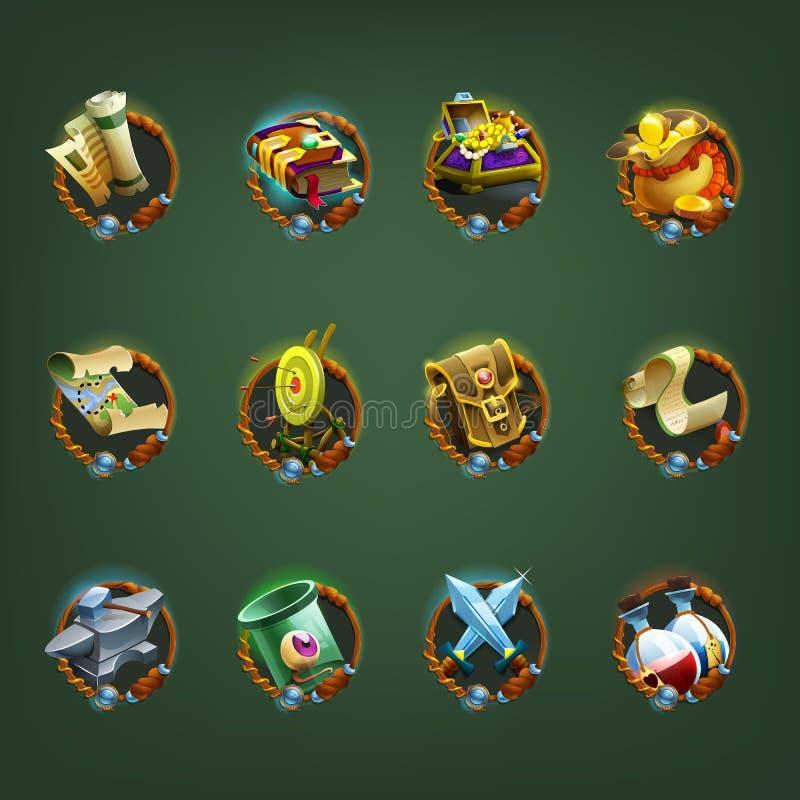 Iconos de la decoración para los juegos ilustración del vector