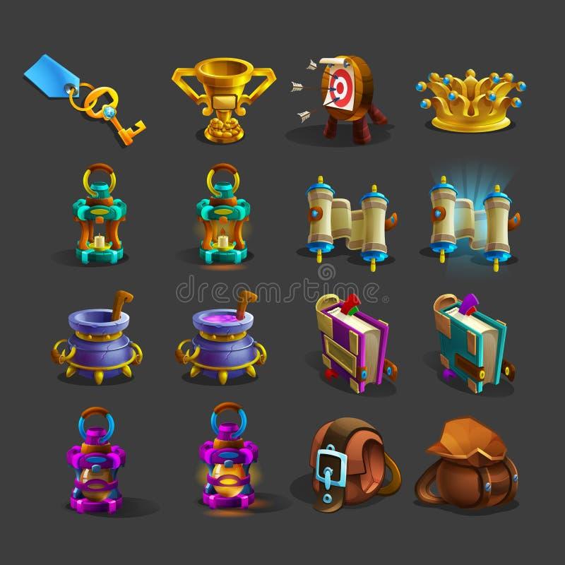 Iconos de la decoración para los juegos stock de ilustración