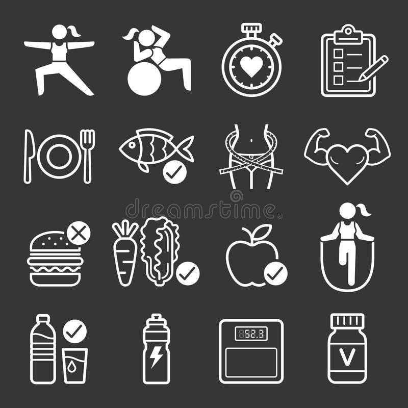 Iconos de la dieta y del ejercicio libre illustration