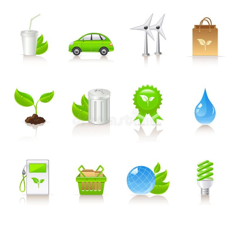 Iconos de la ecología ilustración del vector