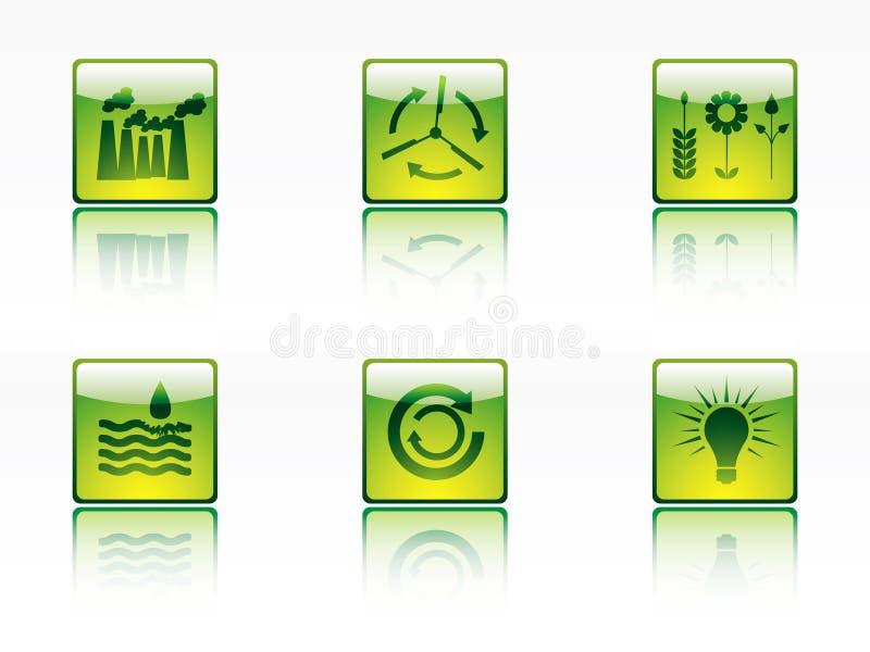 Iconos de la ecología, de la potencia y de la energía stock de ilustración