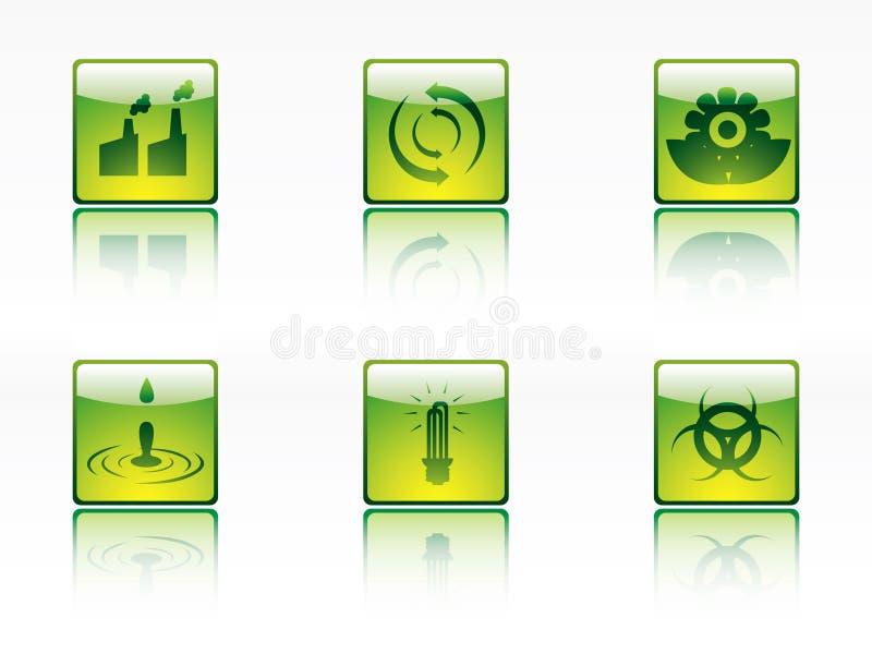 Iconos de la ecología, de la potencia y de la energía libre illustration