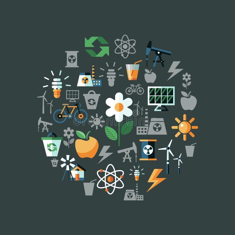 Iconos de la ecología del verde del vector de Digitaces stock de ilustración