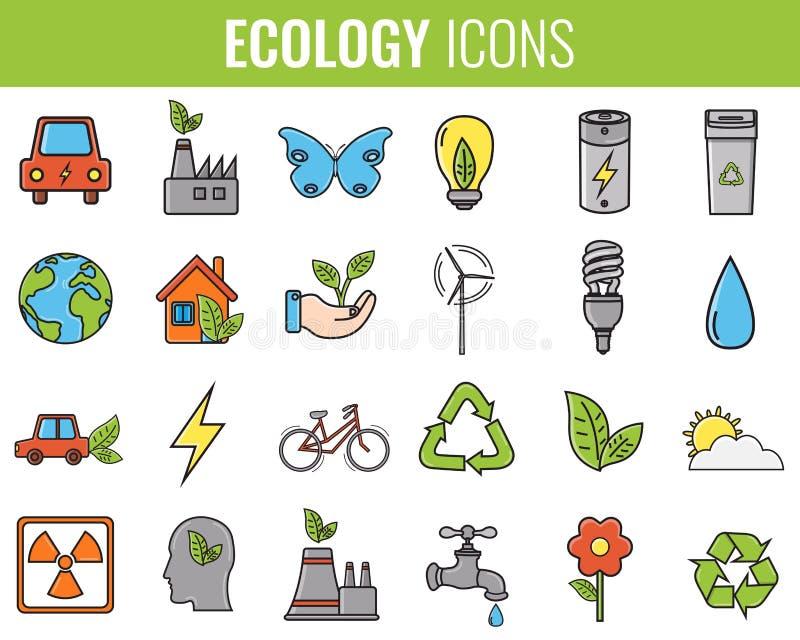 Iconos de la ecología fijados Iconos para la energía renovable, tecnología verde Mano drenada Vector ilustración del vector