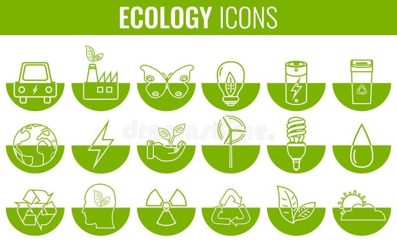 Iconos de la ecología fijados Iconos para la energía renovable, tecnología verde Mano drenada Vector stock de ilustración