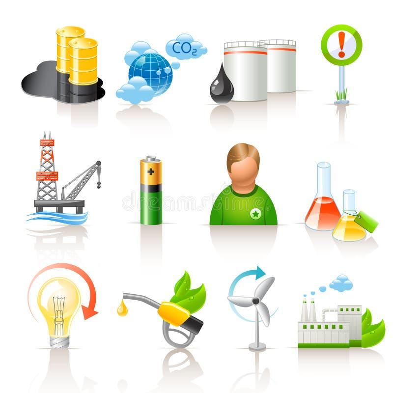 Iconos de la ecología y del combustible libre illustration