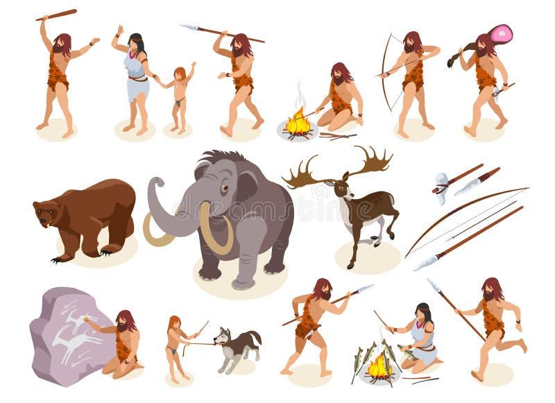Iconos de la Edad de Piedra fijados libre illustration
