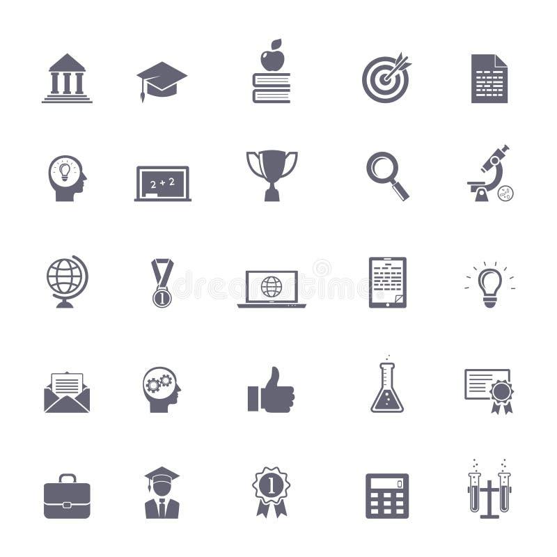 Iconos de la educación de Internet stock de ilustración