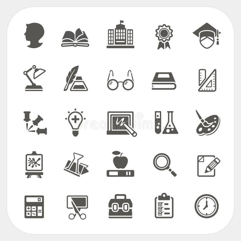 Iconos de la educación fijados stock de ilustración