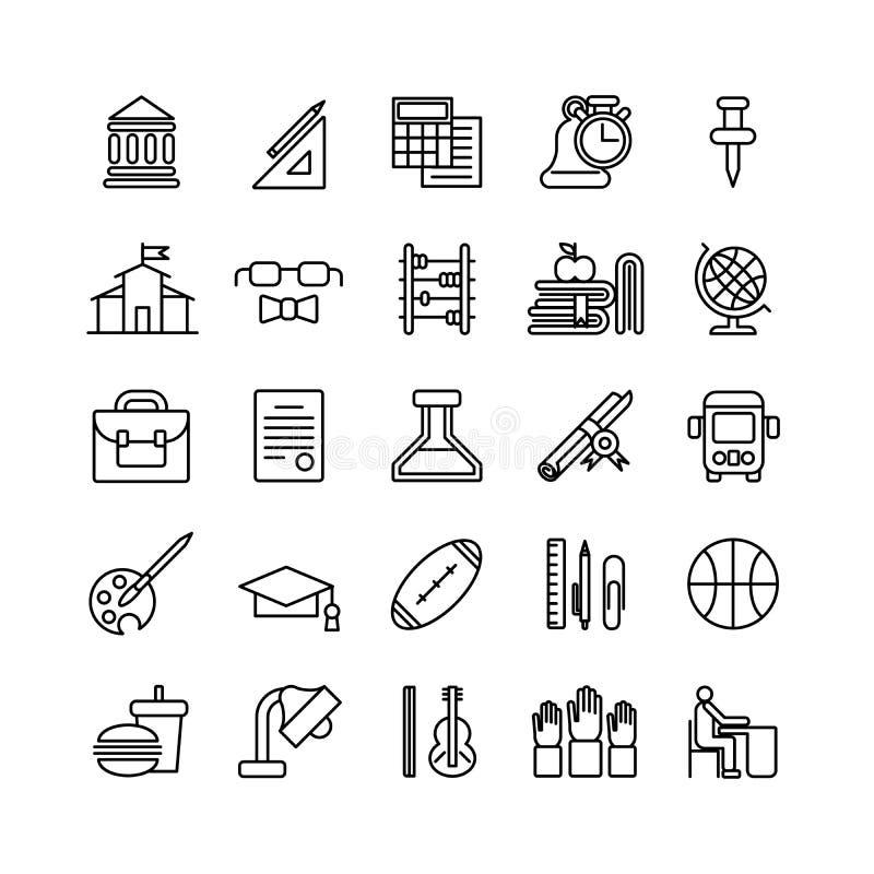 Iconos de la educación fijados ilustración del vector