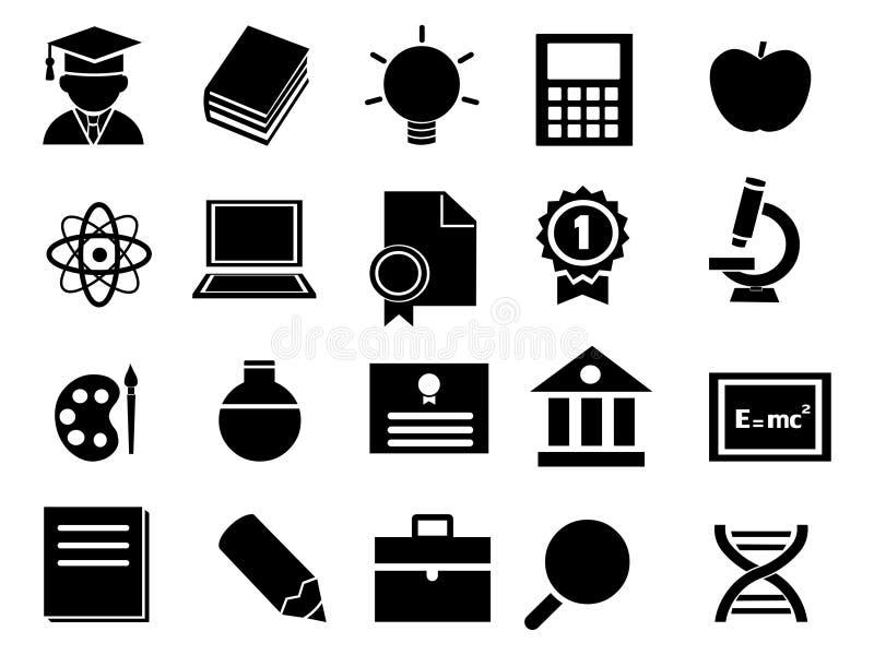 Iconos de la educación fijados Ejemplo del vector de los iconos de la educación stock de ilustración