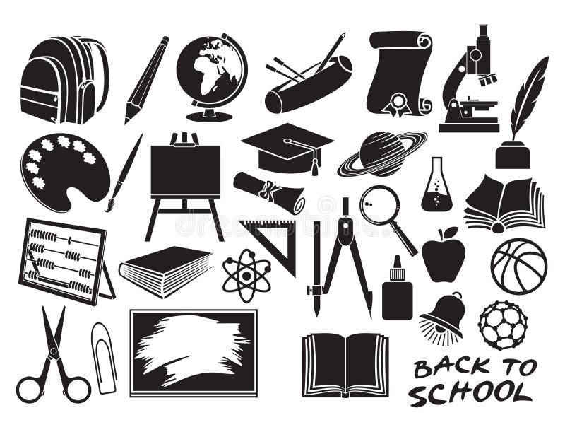 Iconos de la educación y de la escuela fijados libre illustration