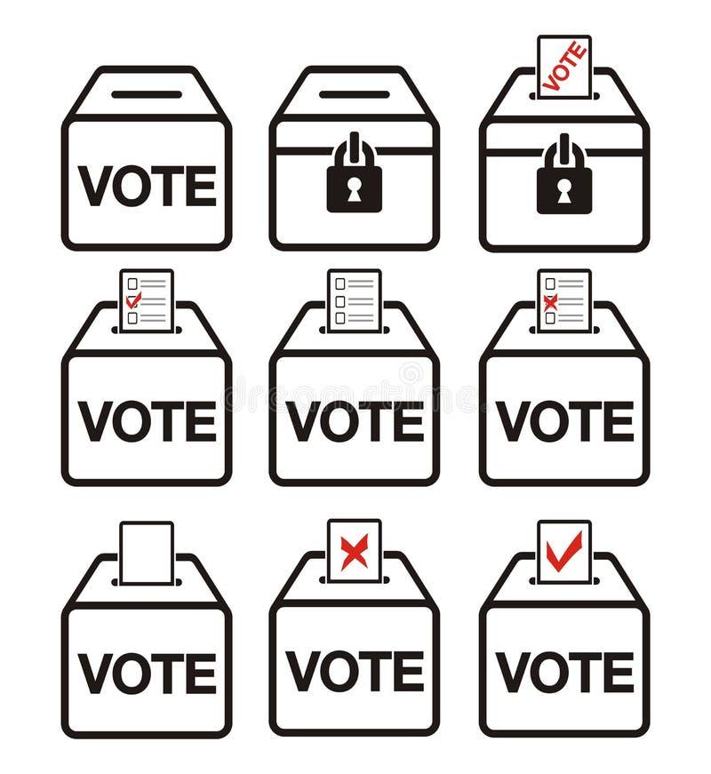 Iconos de la elección - iconos de la urna stock de ilustración