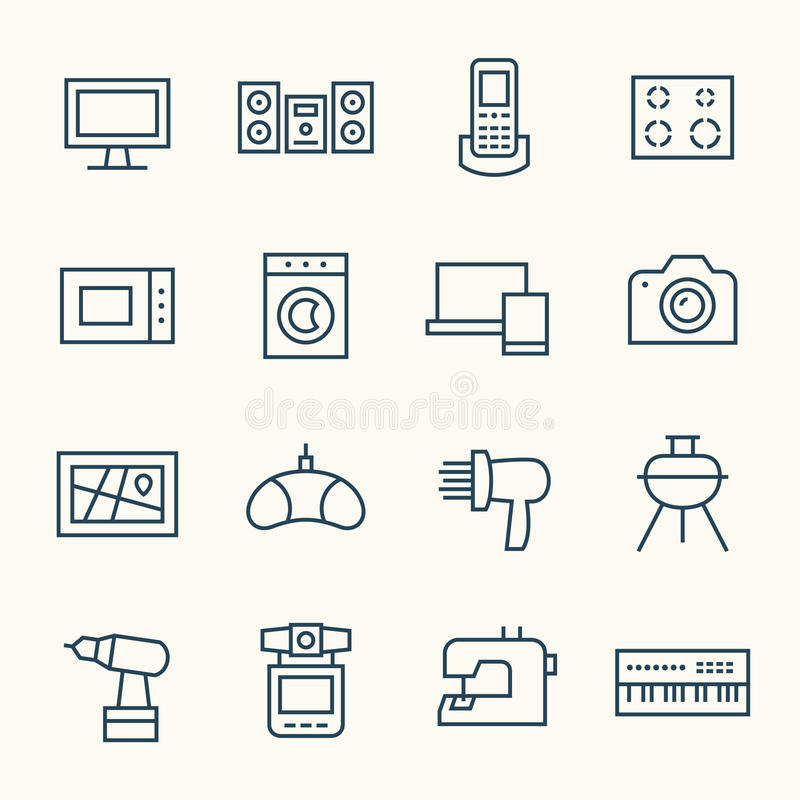 Iconos de la electrónica stock de ilustración