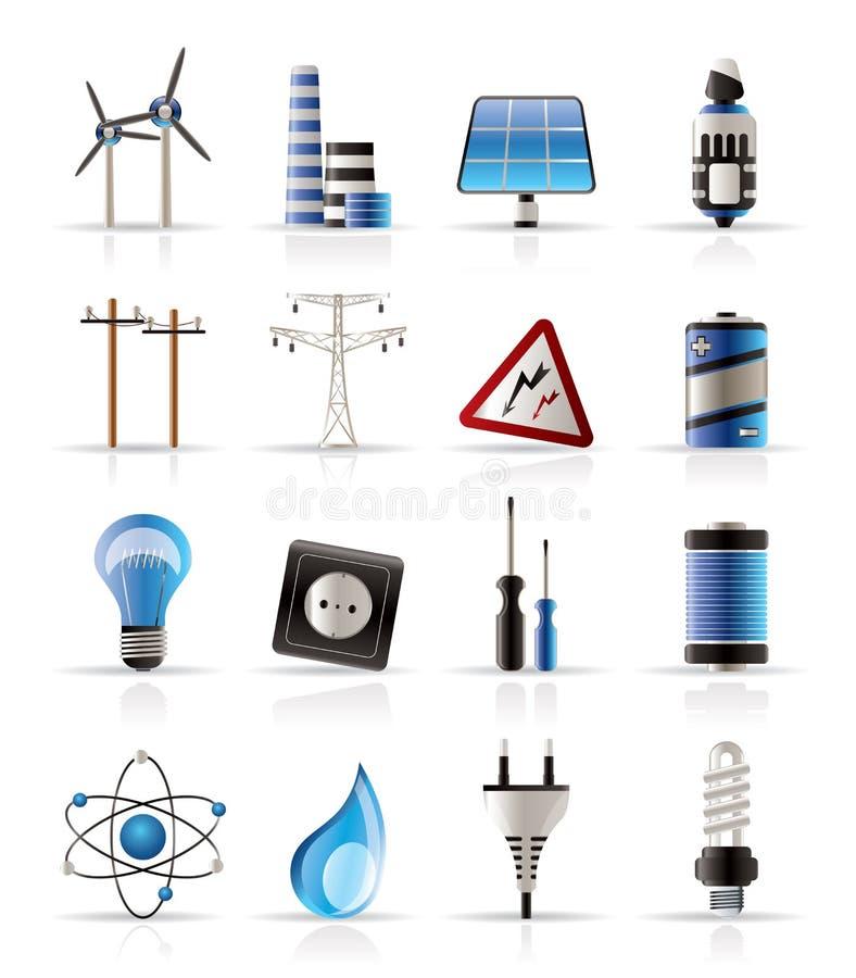 Iconos De La Electricidad, De La Potencia Y De La Energía Fotografía de archivo