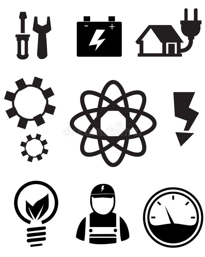 Iconos de la energía de Eco stock de ilustración