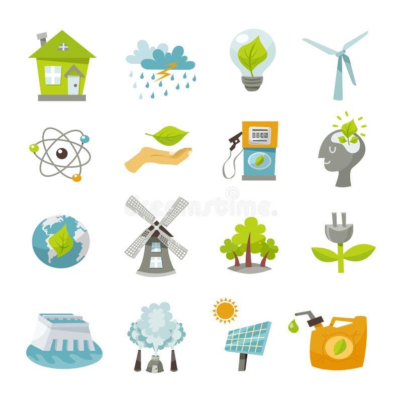 Iconos de la energía de Eco planos ilustración del vector