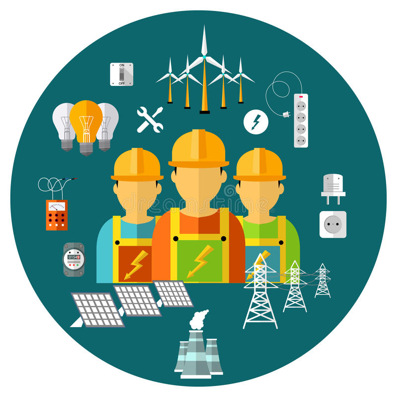 Iconos de la energía de la central eléctrica stock de ilustración