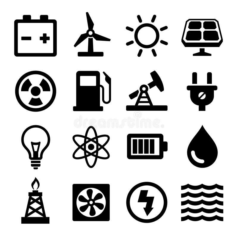 Iconos de la energía fijados stock de ilustración