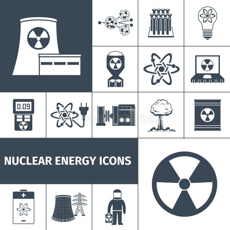 Iconos de la energía nuclear fijados negros ilustración del vector