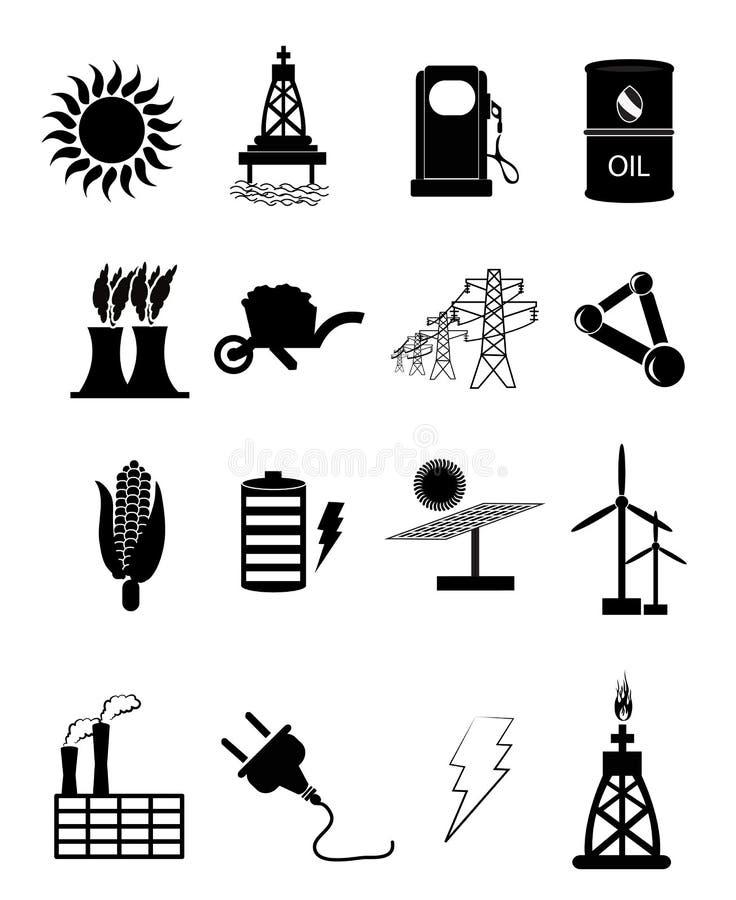 Iconos de la energía y del poder fijados stock de ilustración
