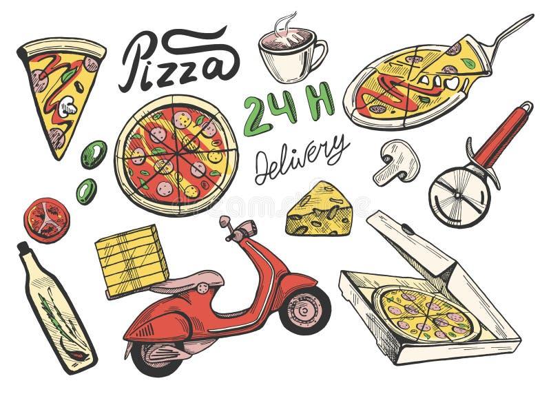 Iconos de la entrega de la pizza fijados libre illustration