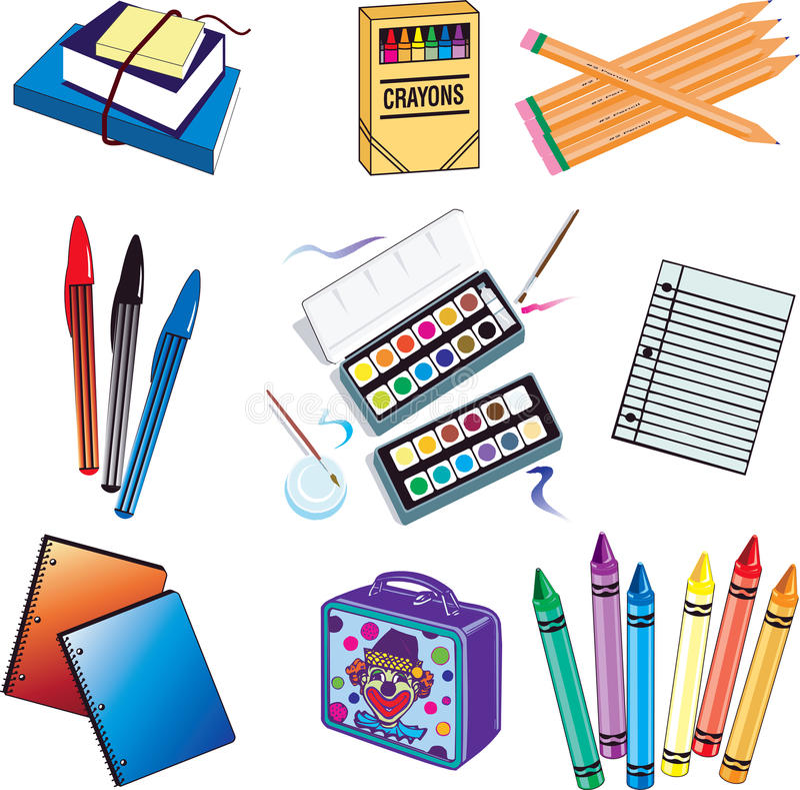 Iconos de la escuela stock de ilustración