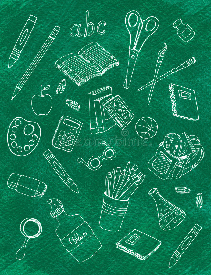 Iconos de la escuela en la pizarra ilustración del vector