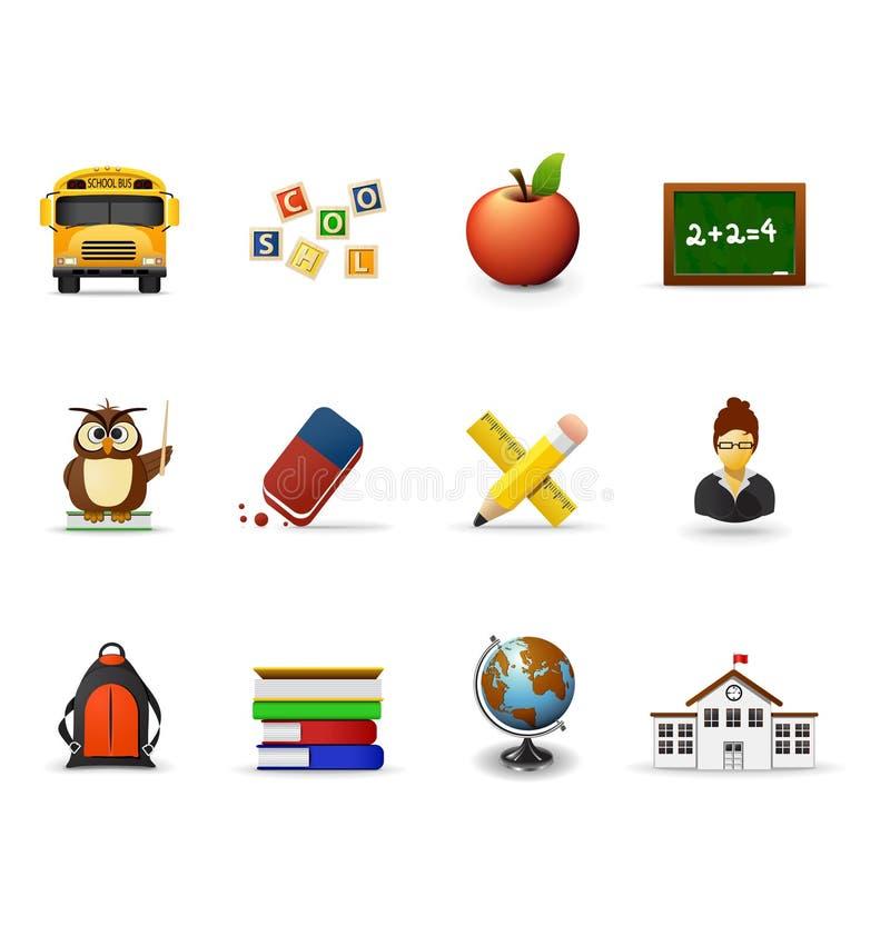 Iconos de la escuela, parte 1 ilustración del vector