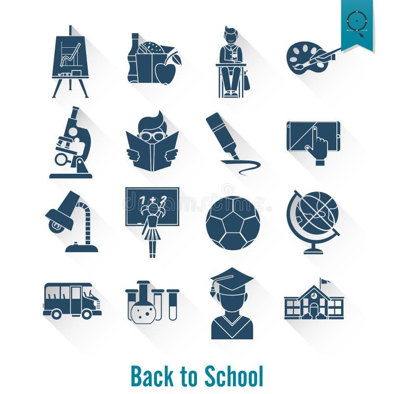 Iconos de la escuela y de la educación stock de ilustración