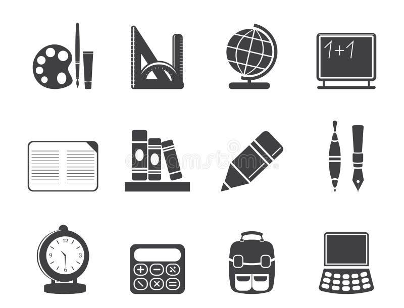 Iconos de la escuela y de la educación de la silueta libre illustration