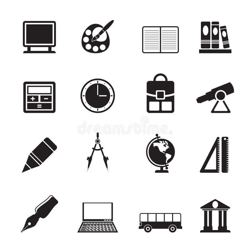 Iconos de la escuela y de la educación de la silueta ilustración del vector