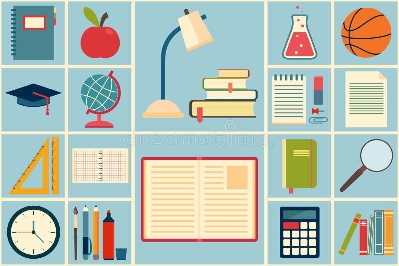 Iconos de la escuela y de la educación fijados ilustración del vector