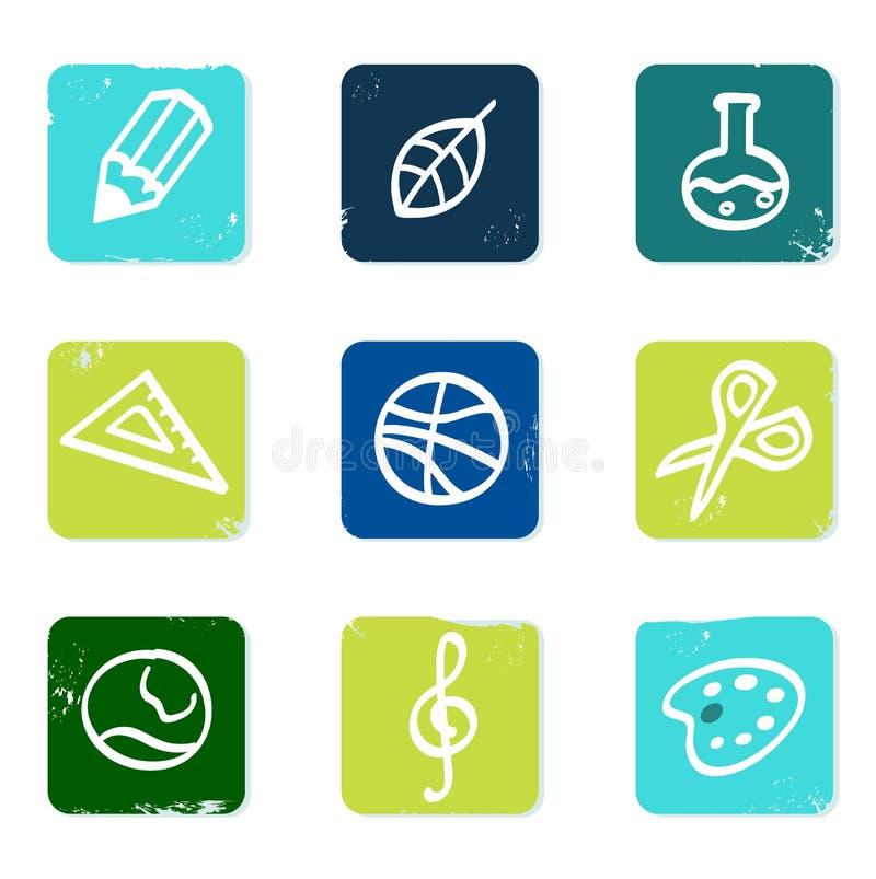 Iconos de la escuela y de la educación fijados y elementos. stock de ilustración