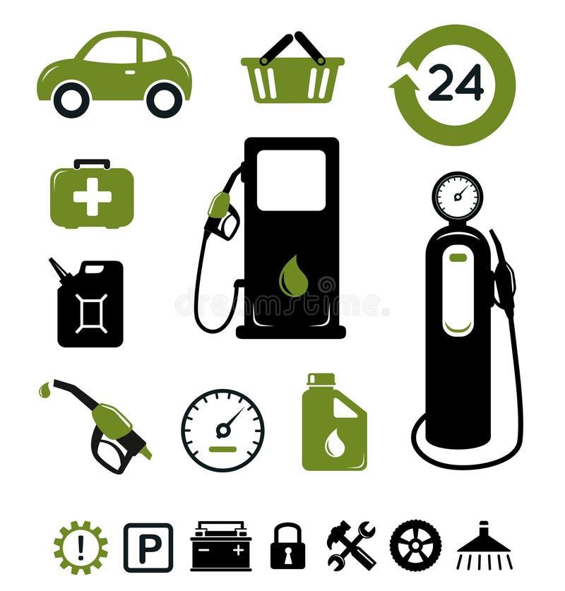 Iconos de la estación de gasolina fijados libre illustration
