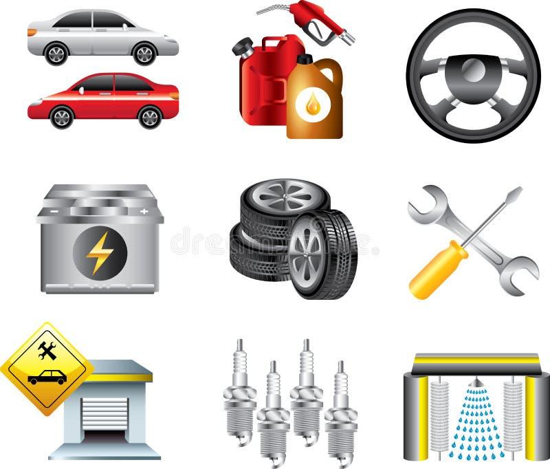 Iconos de la estación del servicio y de servicio del coche stock de ilustración