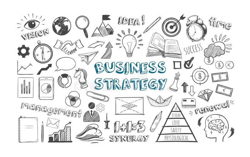 Iconos de la estrategia empresarial stock de ilustración