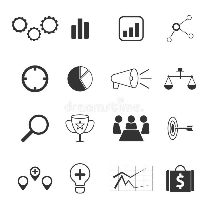 Iconos de la estrategia empresarial y del márketing fijados ilustración del vector