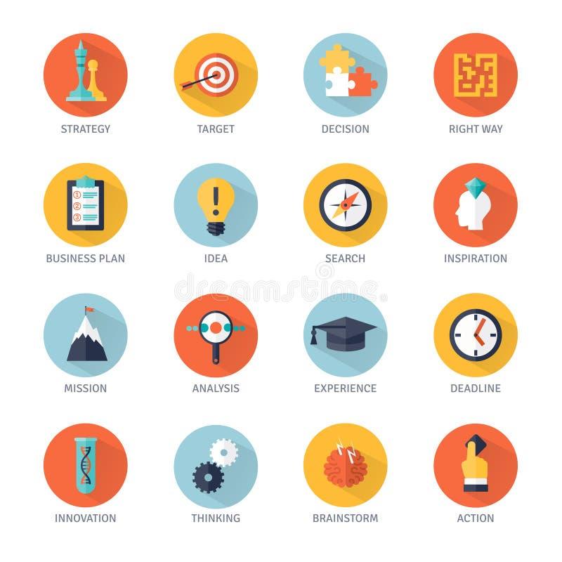 Iconos de la estrategia fijados stock de ilustración