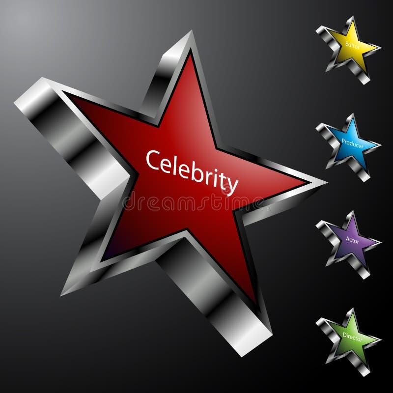 Iconos de la estrella de cine del cromo stock de ilustración