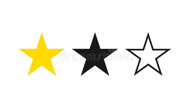 Iconos de la estrella fijados Colección de cinco estrellas Ilustración del vector ilustración del vector