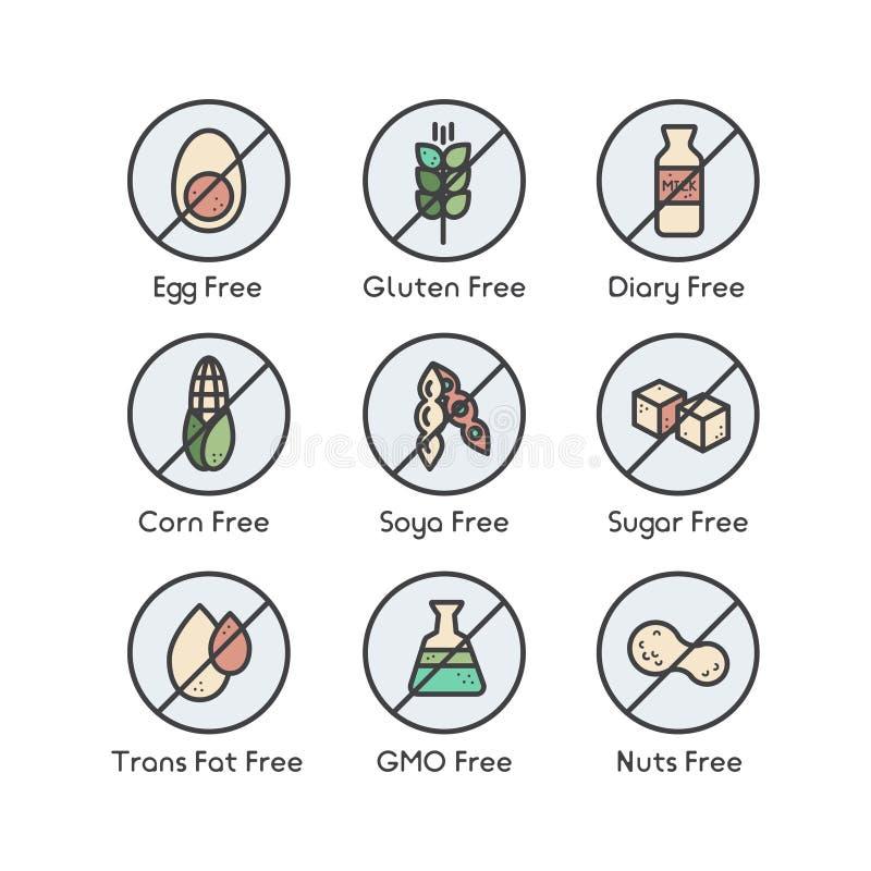 Iconos de la etiqueta de advertencia del ingrediente Alergénicos gluten, lactosa, soja, maíz, diario, leche, azúcar, grasa del tr stock de ilustración