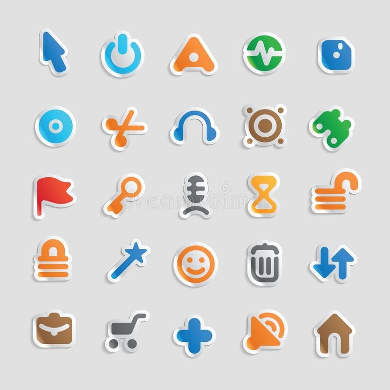 Iconos de la etiqueta engomada para el interfaz stock de ilustración